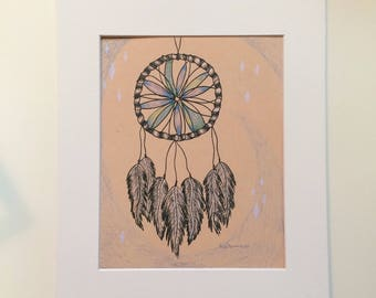 Dream, bohemian dream catcher with feathers art print, home decor, gallery wall, dorm room  apartment decor, hippie peaceful art