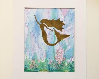 Miracle Mermaid, mixed-media gold mermaid in watercolor water art print, great for nursery, dorm, home decor, gallery wall, housewarming