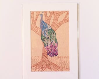 Regal Peacock in a tree Zentangle Drawing Art Print in White Mat, Small Original Artwork, Great for Gallery Wall, Hostess Gift, Housewarming