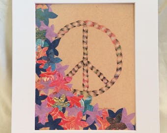 Peace and Flora Peace Sign Bohemian Art Print, Pastel and Cut Paper, Flowers and Rope, Natural  Colors, Great for  Gallery Wall, Housewarmin