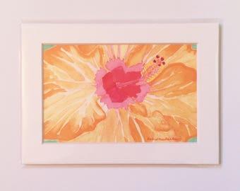 Orange Pink Hibiscus Tropical Watercolor Painting Art Print in White Mat, Small Original Artwork, Gallery Wall, Hostess Gift, Housewarming