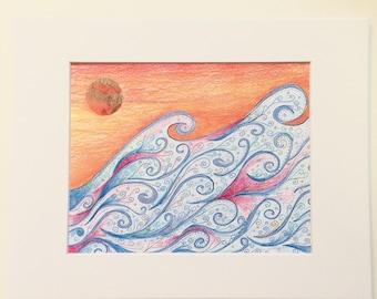 Sunset Surf Mixed-media Art Print, blue swirly waves, orange sunset sky, great for gallery wall, home decor, dorm room, nursery, gift