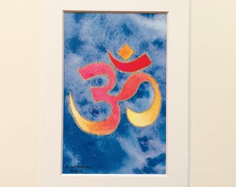 Namaste, ohm symbol yoga art print, mindful, orange blue and gold, great for dorm, apartment, home decor, housewarming, yoga studio