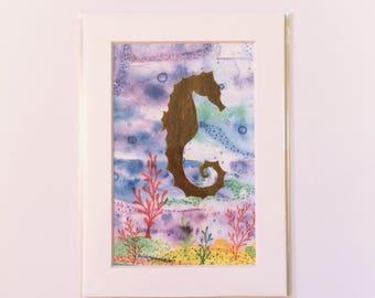 Golden Seahorse Watercolor Art Print in White Mat, Small Original Ocean Sealife Artwork, Great for Gallery Wall, Hostess Gift, Housewarming