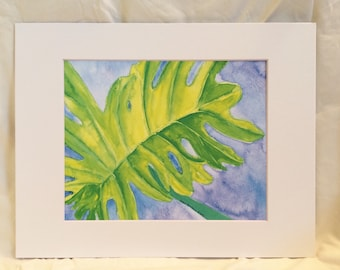 Lush Leaf Watercolor Art Print, Green and Blue, Great for Gallery Wall, Hostess Gift, Housewarming, Home Decor, Tropical