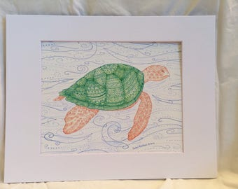 Determined Turtle Zentangle Sea Turtle Art Print, Marker and Colored Pencil Drawing, Great for Gallery Wall, Housewarming, Home Decor