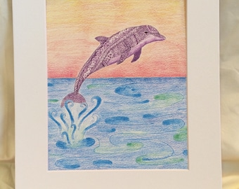 Jubilant Dolphin Zentangle Purplw Dolphin Jumping over the Ocean Marker and Colored Pencil Art Print, Great for Gallery Wall, Housewarming