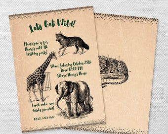 Wild animal invitation/ Wild zoo party invitation/ Wild animal party invitation/ Boys safari animal party invitation/ Safari animal invite