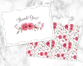 Birthday thank you card/ Baby shower thank you card/ Watercolor flower thank you card/ 5.5x4/ Printed w/ envelopes or digital download