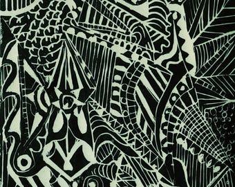 Abstract Lino cut print