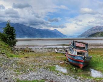 Patagonia Boat At Low Tide Photo A6 Greetings Card