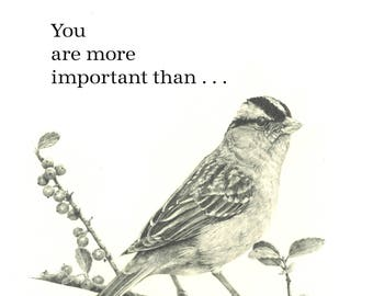 Fine Print of an original drawing of a Sparrow with added Scripture verse
