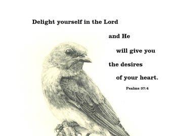 Fine Print of an original drawing of Bluebird with Scripture Verse
