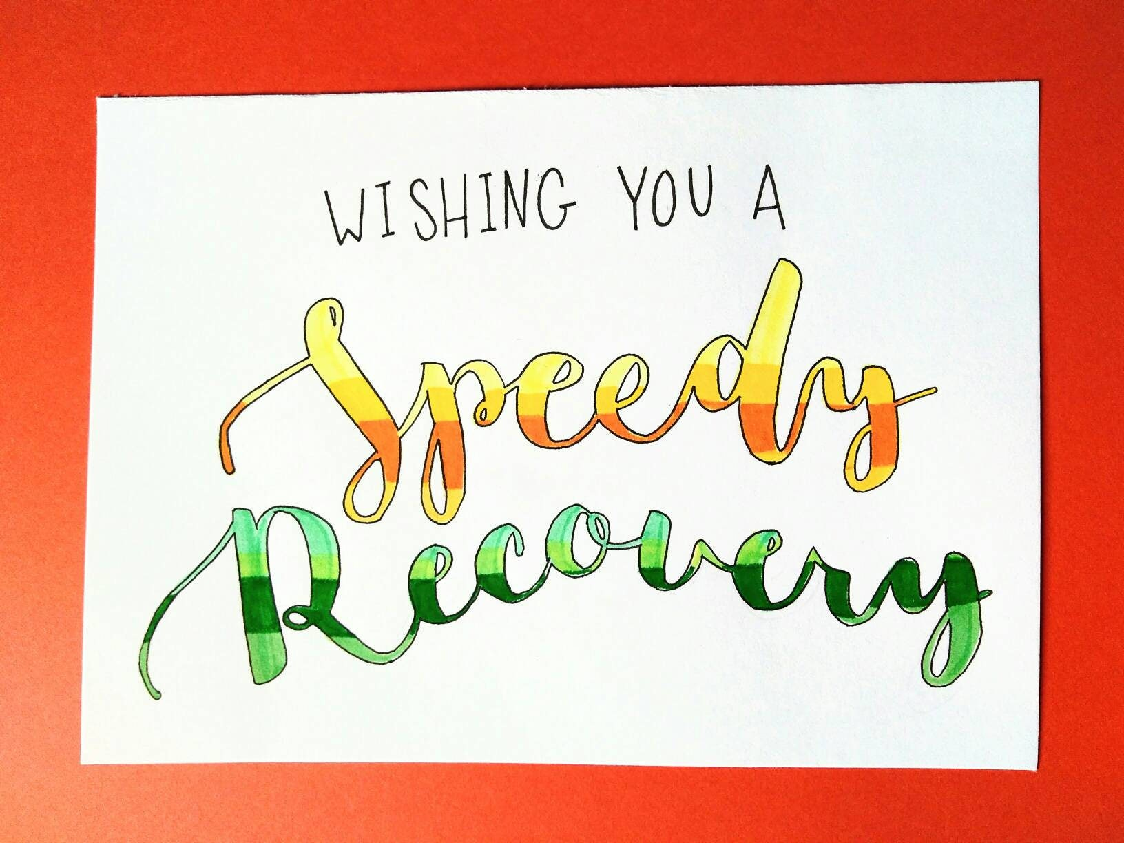Speedy Recovery Get Well Greeting Card Etsy