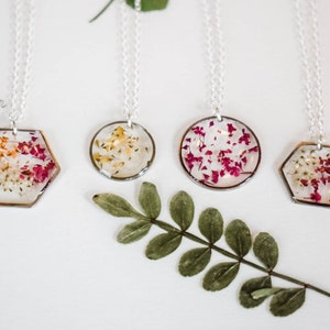 Pressed flowers necklace Bib resin necklace Real flowers necklace Clay necklace Provance style Boho necklace Boho chic Heather necklace