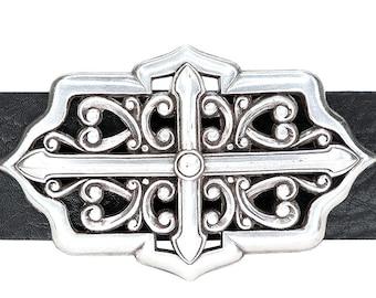 Celtic Cross Belt Buckle Old Silver Filigree Belt Buckle