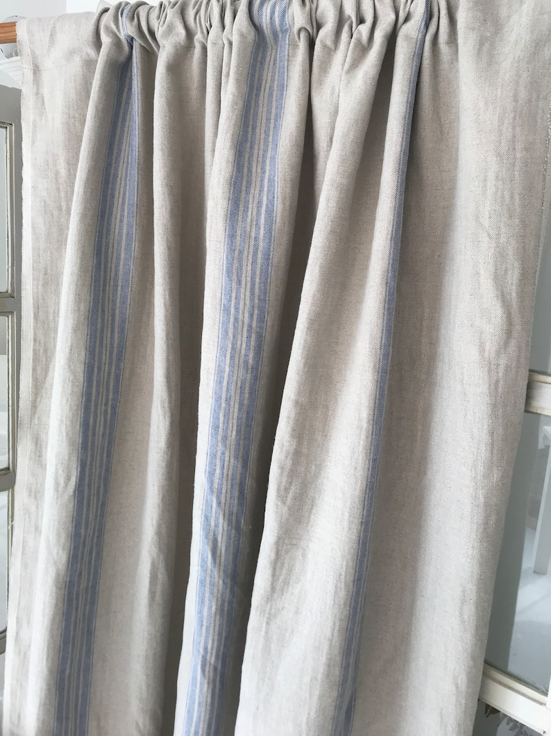 Blue stripes curtains rustic linen panel Rusic Window Panels Linen Drapes Pleated Curtain Custom door Washed linen drapes Kitchen French
