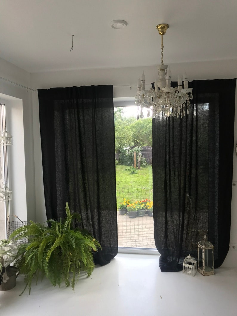 Black Long Curtain Panel Linen Curtain Brown Curtains Chocolate Curtains For Living Room Drapery Extra Long Linen Curtains Window Drapes