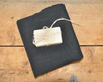 Black Linen Fabric by meter, Softened linen fabric by yard Natural Linen Fabric Stonewashed Linen Washed Linen Pure 100% Linen Fabric