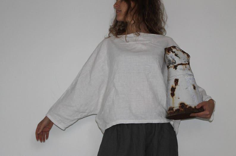 d8dc4c0d2de754 Sample SALE White batwing toploose linen top with long