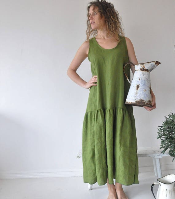 f9ceea57db0 Loose linen sleeveless summer dress in green Washed warm loose