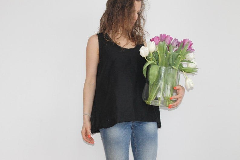 linen blouse plus size boho tunic linen shirt linen blouses women tunics oversized tunics white linen top Black Green linen tank top