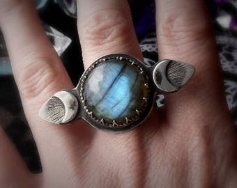Labradorite Moon Phase Ring Moon Phase Ring Celestial ring Celestial Jewelry Silversmith Jewelry Silver Artisan Ring Metal Smith Ring