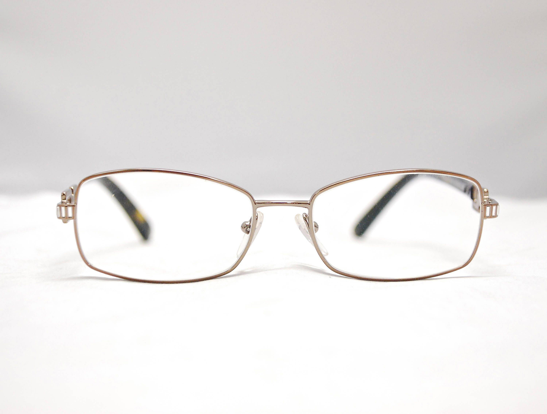 2a948ac092185 Vintage PRADA Gold Metal Rectangular Rhinestone Detail Eyeglasses with  Case/ Model# VPR54M / Retro Collectable Rare #1340