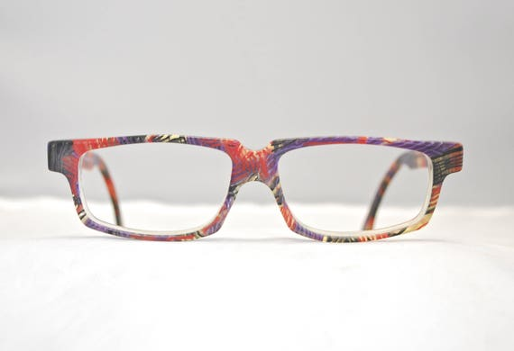 680c94c3c5e1e Vintage ALAIN MIKLI Paris Multi Colored Plastic Eyeglasses Frames / Model  A.M 83 / Retro Collectible Rare #1397