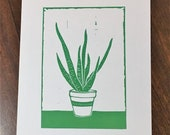 Aloe Vera art print - from an original lino print