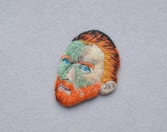 Van Gogh embroidered brooch, Vincent self portrait, embroidered felted brooches, embroidered pin, famous artist, famous painting, felt art