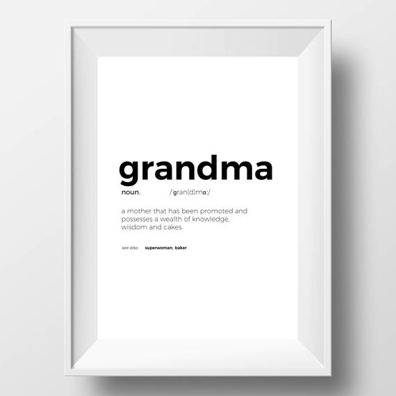 Printable Funny Grandma Print - Funny Grandma Sign - Funny Grandma Quote -  Gifts for Grandma - Typography Print - Grandma Definition Poster