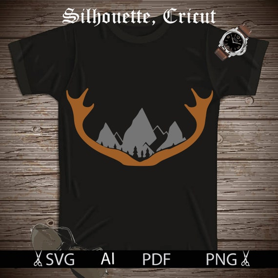 Deer Antlers Svg File Deer Svg Files Mountains Svg Hunting Etsy