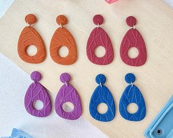 Retro clay earrings, glittery textured earrings, 1950's earrings, bold earrings, polymer clay earrings, lightweight earrings
