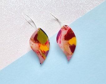 Translucent rainbow leaf earrings, polymer clay earrings, flower dangle earrings, botanical earrings, faux quartz earrings