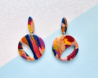 Translucent rainbow cut out clay earrings, 1950's earrings, bold earrings, polymer clay earrings, lightweight earrings