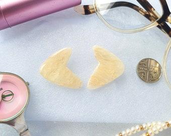 Cream and pearl earrings, translucent earrings, watercolour agate earrings, faux quartz earrings, boomerang earrings, atomic earrings