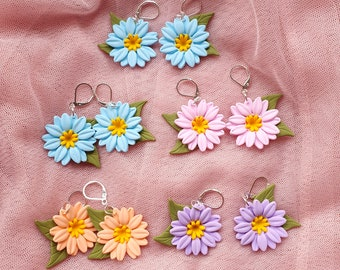 Daisy earrings, floral earrings, polymer clay earrings, flower dangle earrings, gerbera earrings, pastel earrings