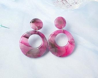 Translucent earrings, watercolour agate earrings, faux quartz earrings, purple earrings, polymer clay earrings, circular earrings