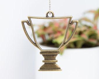 2 Trophy  charms antique silver tone P470