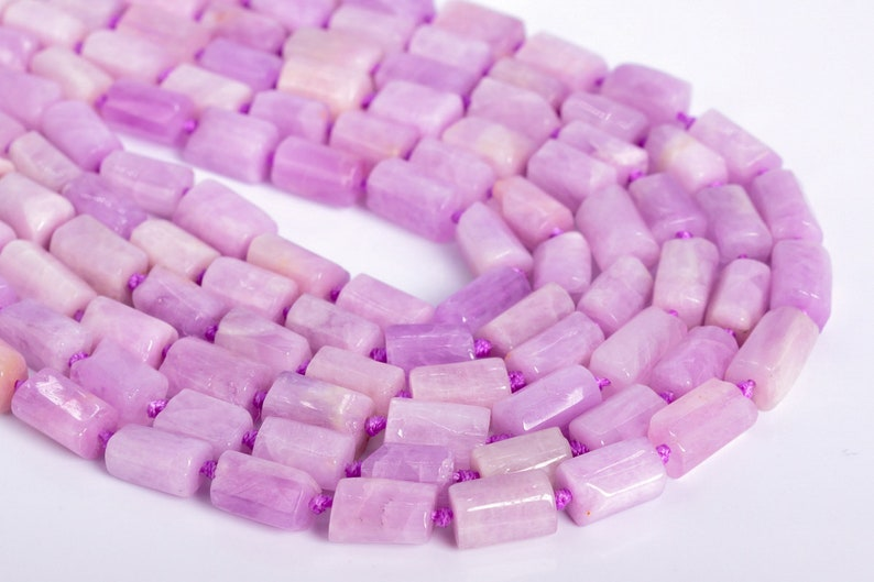 108356 7-13MM Kunzite Beads Grade AAA Genuine Natural Faceted Nugget Rectangle Tube Gemstone Beads 30-35 Pcs