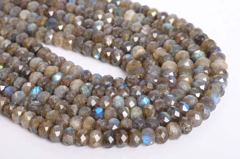 10x5MM Gray Labradorite Beads Madagascar Grade AA Genuine Natural Faceted Rondelle Gemstone Loose Beads 67  31 Pcs 108529