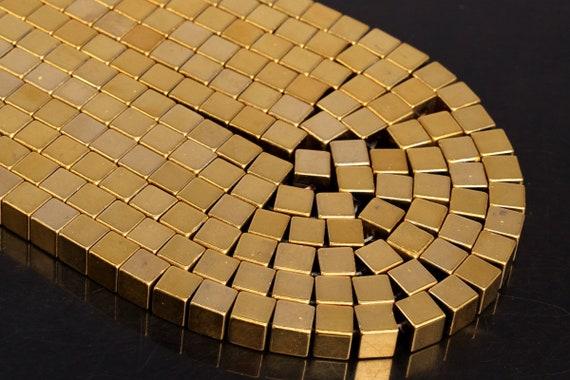 "4X4MM GOLD HEMATITE GEMSTONE CROSS 4X4MM LOOSE BEADS 15.5/"""