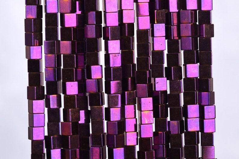 124 Pcs 104807 3MM Purple Hematite Beads Cube Grade AAA Natural Gemstone Loose Beads