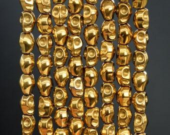 49 Pcs /24 Pcs- 8MM Gold Hematite Beads Skull Grade AAA Natural Gemstone Loose Beads (104543)