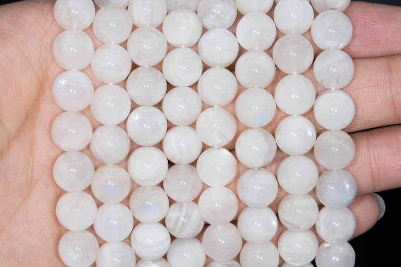 40  20 Pcs 10MM Blue /& White Flas Milky Moonstone Beads Grade A Genuine Natural Round Gemstone Loose Beads 110765