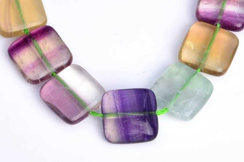 14x14MM Rainbow Fluorite Beads Grade AA 102799 28  14 Pcs Square Genuine Natural Gemstone Loose Beads