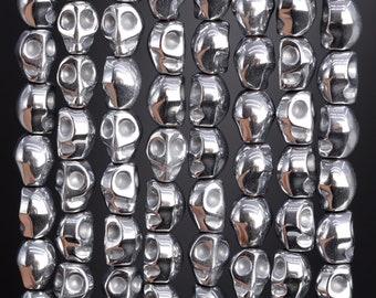 49 Pcs /24 Pcs - 8MM Silver Hematite Beads Skull Grade AAA Natural Gemstone Loose Beads (104540)