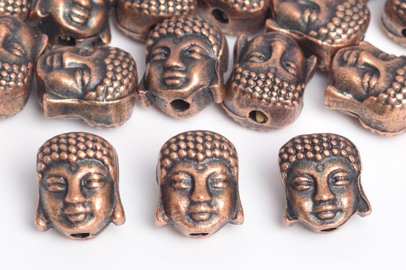 10 Pcs 9x8MM Antique Copper Tone Buddha Head Spacer Beads 64264-2482