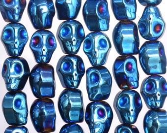 40 Pcs / 20 Pcs- 10x8MM Blue Hematite Beads Skull Grade AAA Natural Gemstone Loose Beads (104853)